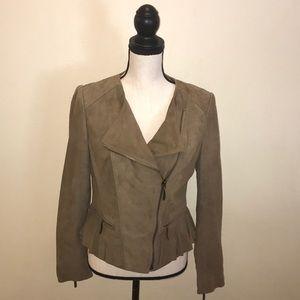 Zara tan suede zip jacket